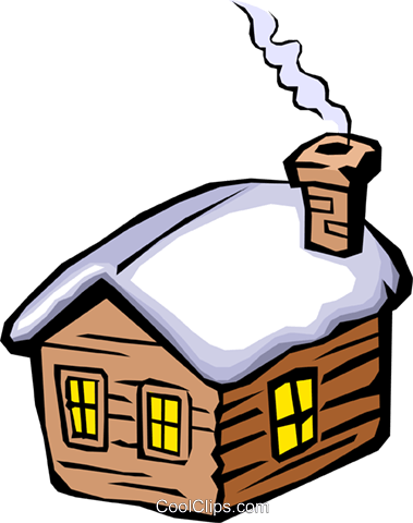 House in Winter Royalty Free Vector Clip Art illustration arch0133
