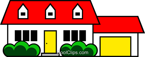 Family home Royalty Free Vector Clip Art illustration arch0229