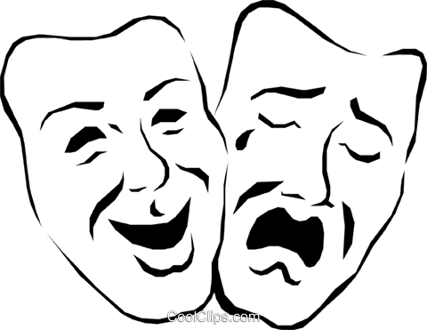Theatre masks Royalty Free Vector Clip Art illustration arts0133