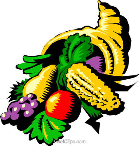 Cornucopia with fresh vegetables Royalty Free Vector Clip Art illustration even0199