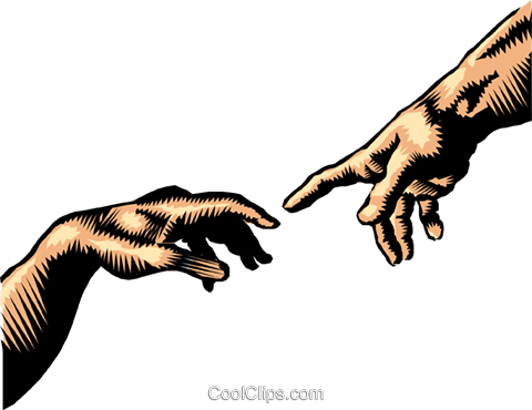 Hand of God, the creation of Adam Royalty Free Vector Clip Art illustration hand0176