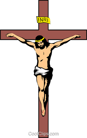 Christ on the cross Royalty Free Vector Clip Art illustration reli0046