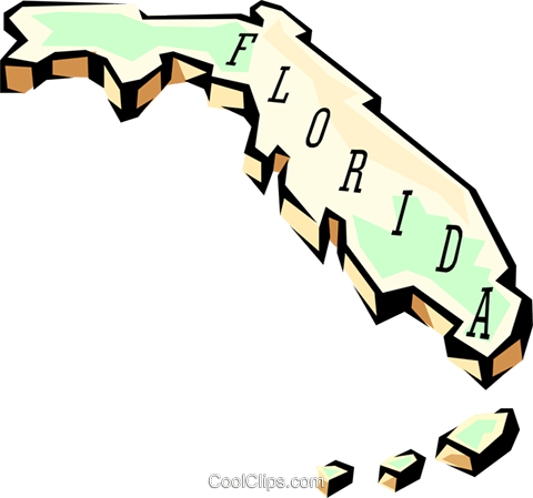 Florida state map Royalty Free Vector Clip Art illustration worl0556