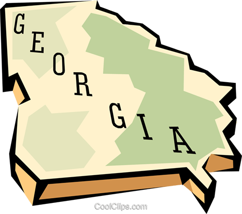 Georgia state map Royalty Free Vector Clip Art illustration worl0557