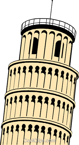 Leaning Tower of Pisa Royalty Free Vector Clip Art illustration arch0243