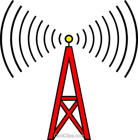 Communications tower Royalty Free Vector Clip Art illustration busi0715