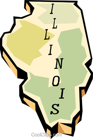 Illinois state map Royalty Free Vector Clip Art illustration worl0560