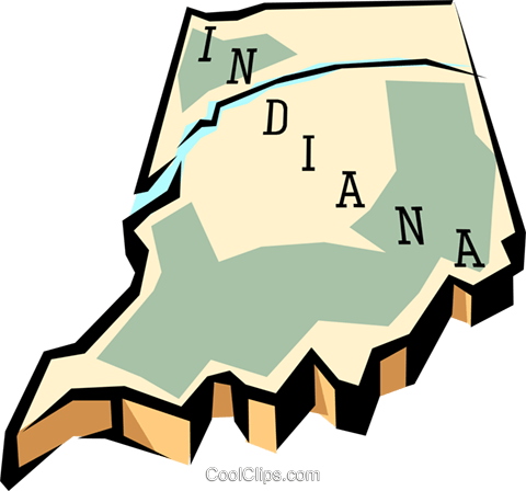 Indiana state map Royalty Free Vector Clip Art illustration worl0561