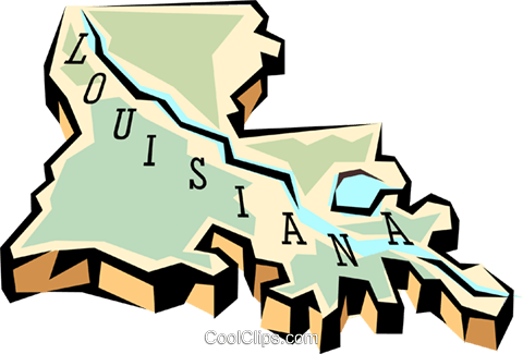 Louisiana state map Royalty Free Vector Clip Art illustration worl0565