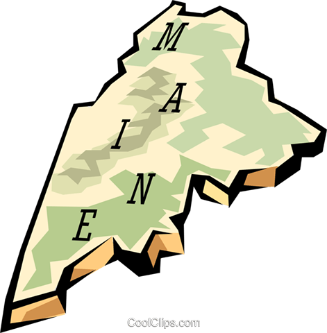 Maine state map Royalty Free Vector Clip Art illustration worl0566