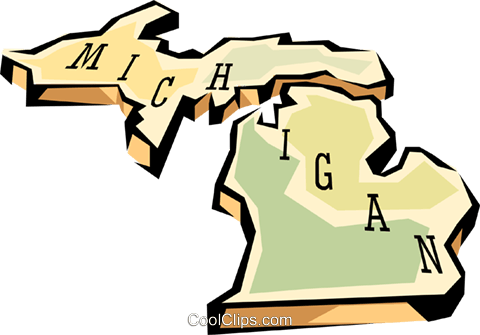 Michigan state map Royalty Free Vector Clip Art illustration worl0569