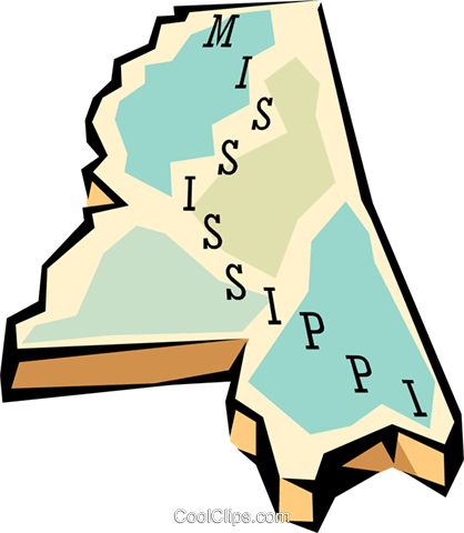 Mississippi state map Royalty Free Vector Clip Art illustration worl0572