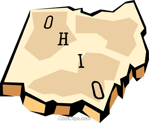 Ohio state map Royalty Free Vector Clip Art illustration worl0582