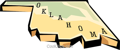 Oklahoma state map Royalty Free Vector Clip Art illustration worl0583