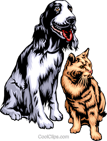 Dog & Cat Royalty Free Vector Clip Art illustration anim0315