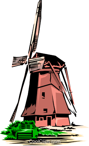 Dutch windmill Royalty Free Vector Clip Art illustration arch0069
