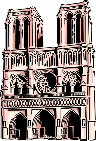 Notre Dame Cathedral Royalty Free Vector Clip Art illustration arch0071