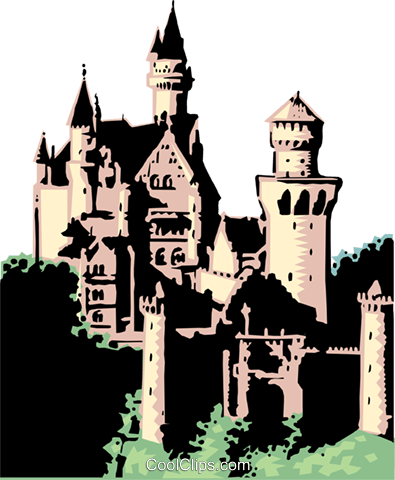 German castle Royalty Free Vector Clip Art illustration arch0072