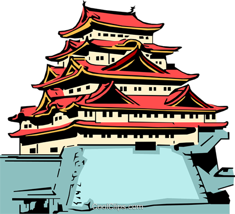 Japanese temple Royalty Free Vector Clip Art illustration arch0076