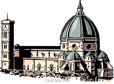 Florentine church Royalty Free Vector Clip Art illustration arch0079