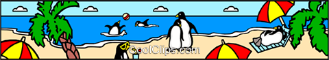 Penguins at the beach Royalty Free Vector Clip Art illustration even0236