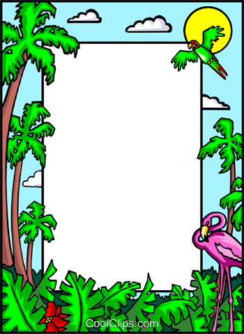 border with palm trees and flamingo Royalty Free Vector Clip Art illustration even0245