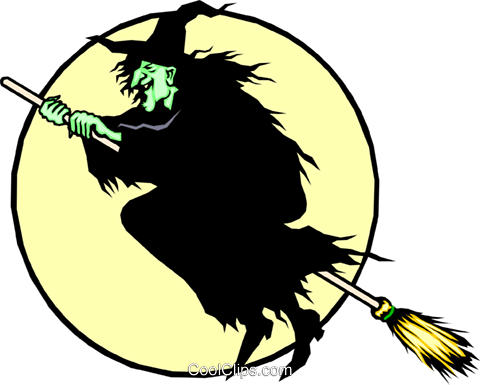 Witch on a broomstick Royalty Free Vector Clip Art illustration even0255