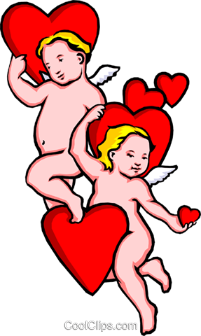 Valentines Day with Cupid Royalty Free Vector Clip Art illustration even0257