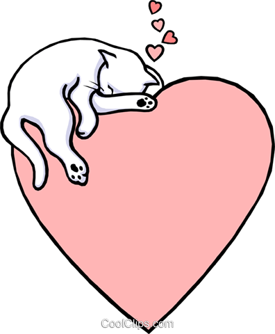 Valentine heart with cat Royalty Free Vector Clip Art illustration even0258