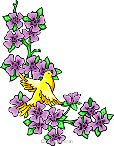 Floral design with bird Royalty Free Vector Clip Art illustration even0260