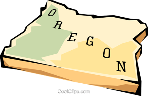 Oregon state map Royalty Free Vector Clip Art illustration worl0584