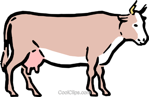 Cartoon cow Royalty Free Vector Clip Art illustration anim0577