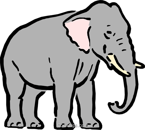 Cartoon elephant Royalty Free Vector Clip Art illustration anim0586