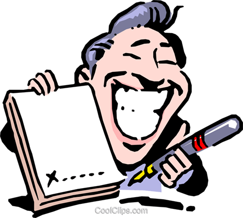 Cartoon man with pen and contract Royalty Free Vector Clip Art illustration cart0642