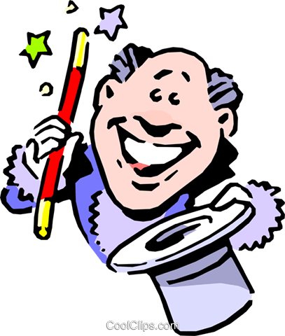 cartoon magician Royalty Free Vector Clip Art illustration cart0645
