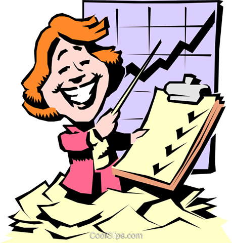 Cartoon woman with progress chart Royalty Free Vector Clip Art illustration cart0660