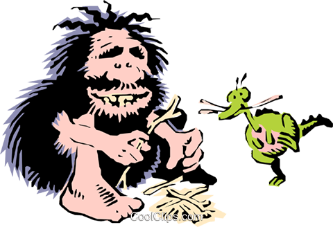 Caveman preparing fire Royalty Free Vector Clip Art illustration cart0661