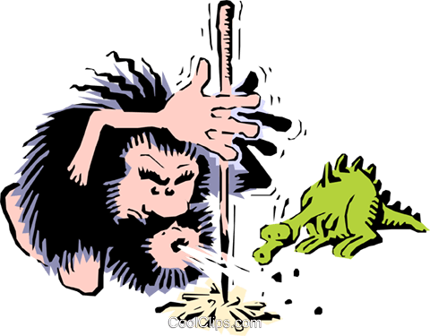 Caveman lighting fire Royalty Free Vector Clip Art illustration cart0663