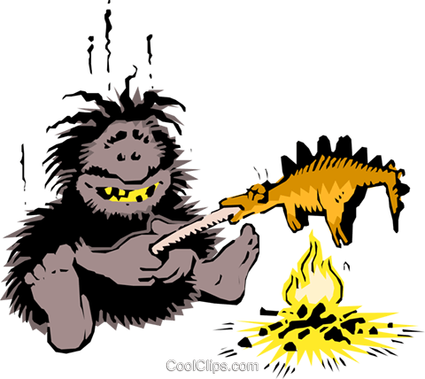 Caveman cooking dinner Royalty Free Vector Clip Art illustration cart0665