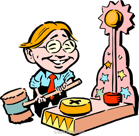 cartoon boy ready to ring the bell Royalty Free Vector Clip Art illustration cart0667