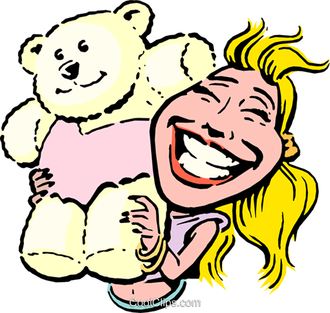 Cartoon woman with teddy bear Royalty Free Vector Clip Art illustration cart0672