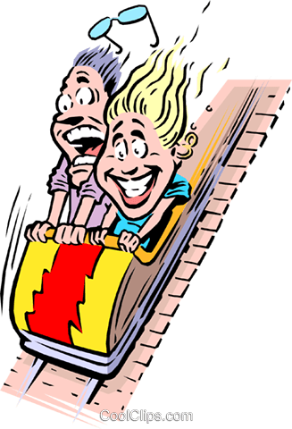 Cartoon roller coaster Royalty Free Vector Clip Art illustration cart0675