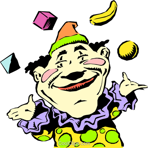 Cartoon circus clown Royalty Free Vector Clip Art illustration cart0676