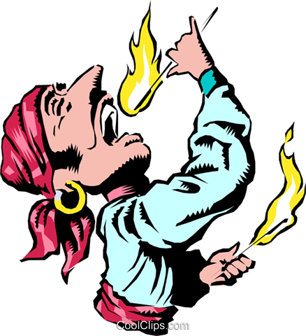 Cartoon flame swallower Royalty Free Vector Clip Art illustration cart0677