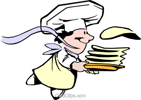Cartoon crepes chef Royalty Free Vector Clip Art illustration cart0691