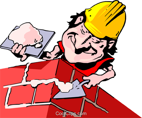Cartoon bricklayer Royalty Free Vector Clip Art illustration cart0738