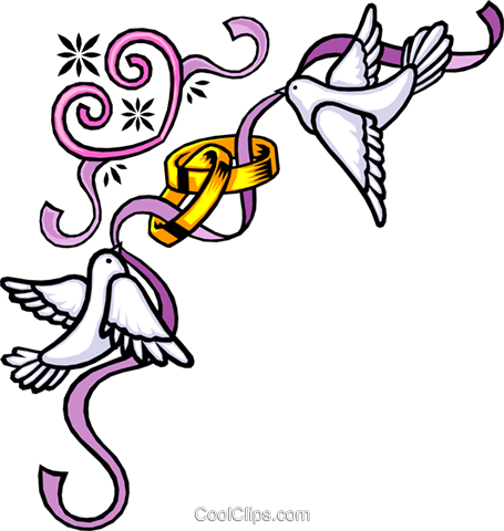 Wedding bands with birds Royalty Free Vector Clip Art illustration even0265