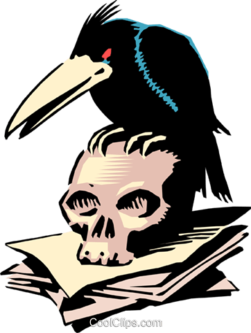 Cartoon crow and skull Royalty Free Vector Clip Art illustration even0284