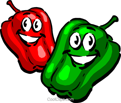 Cartoon peppers Royalty Free Vector Clip Art illustration food0437