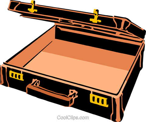 Open Briefcase Royalty Free Vector Clip Art illustration busi0421